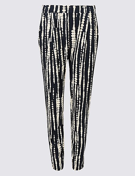 Printed Jersey Tapered Leg Peg Trousers