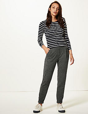 Textured Jersey Tapered Leg Peg Trousers