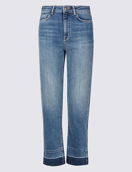 Drop Hem Mid Rise Straight Leg Jeans