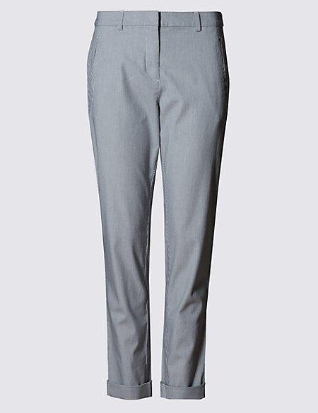 Cotton Rich Straight Leg Striped Chinos