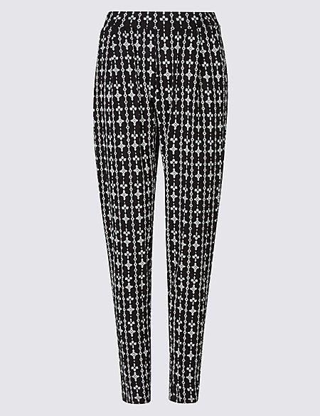 Geometrical Print Tapered Leg Trousers