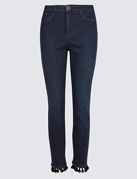 Pom Pom Roma Rise Slim Leg Jeans