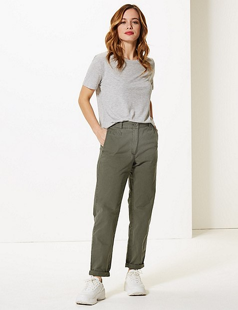 PETITE Pure Cotton Tapered Leg Chinos