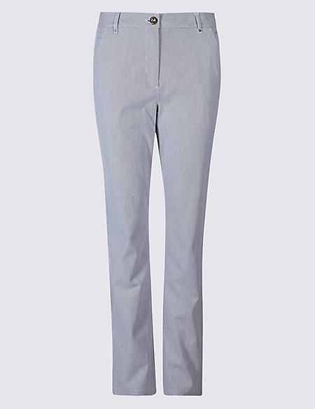 Cotton Rich Striped Chinos navy mix Marks and Spencer