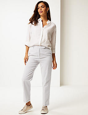 Pure Cotton Striped Seersucker Trousers