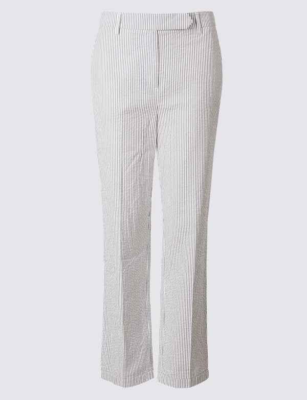 e0adf416adb26e Pure Cotton Striped Seersucker Trousers   M&S Collection   M&S