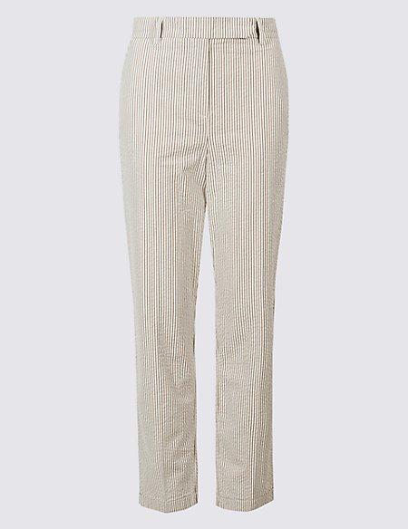 Pure Cotton Striped Seersucker Trousers