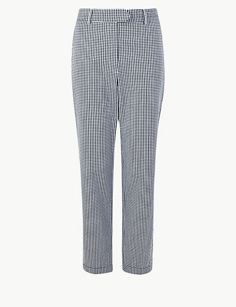 Pure Cotton Checked Peg Trousers