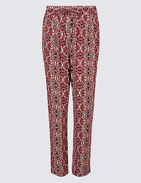 Floral Print Tapered Leg Peg Trousers