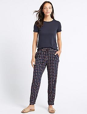 Geometric Print Tapered Leg Trousers