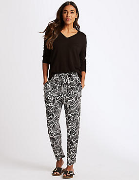 Floral Print Tapered Peg Trousers