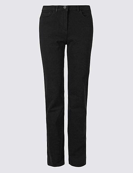 2940847fa4e Cotton Rich Stretch Straight Leg Trousers