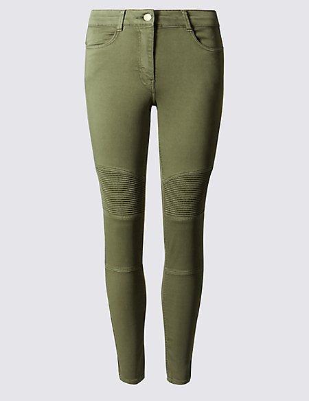 Cotton Rich Biker Skinny Leg Trousers