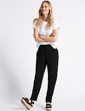 Tapered Leg Mid Rise Peg Trousers
