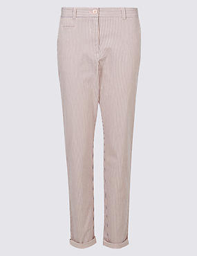 Cotton Rich Tapered Fit Striped Chinos