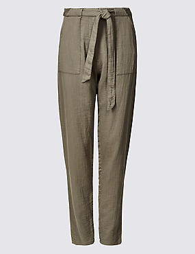 Pure Cotton Straight Leg Peg Trousers