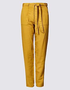 Pure Cotton Straight Leg Peg Trousers