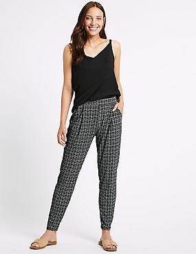 Printed Tapered Leg Peg Trousers