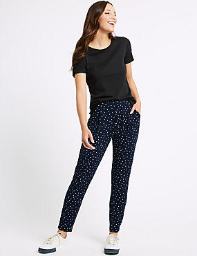 Spotted Jersey Tapered Leg Peg Trousers