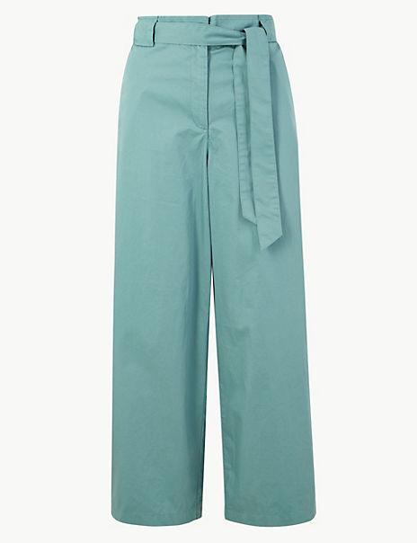 Pure Cotton Wide Leg Ankle Grazer Trousers
