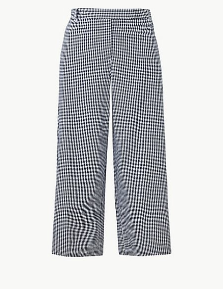 Pure Cotton Checked Cropped Culottes