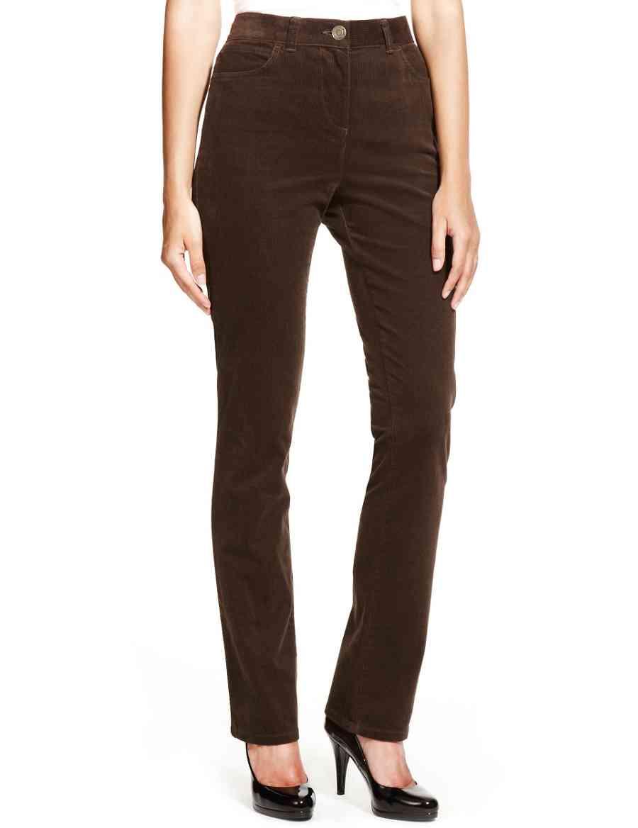 c2f1fad6aa2 Cotton Rich Flat Front Straight Leg Corduroy Trousers