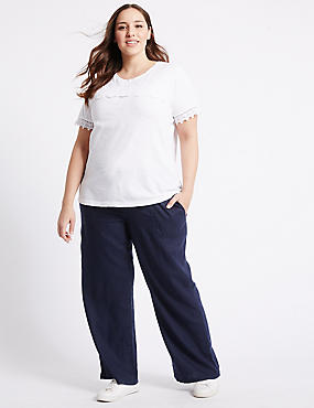 PLUS Linen Rich Wide Leg Trousers