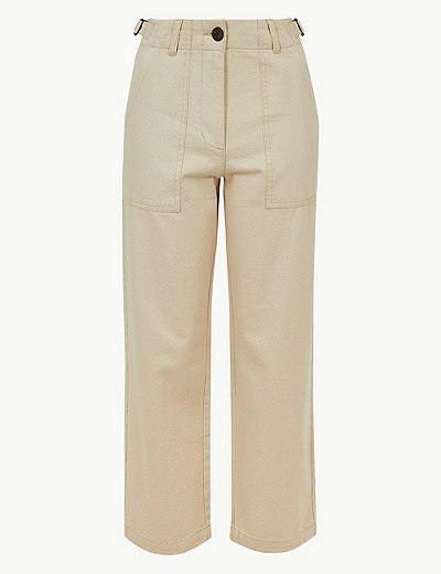 2b908a128712f Pure Cotton Wide Leg Ankle Grazer Trousers