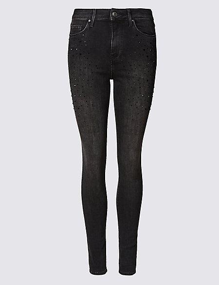 Embellished Mid Rise Super Skinny Leg Jeans