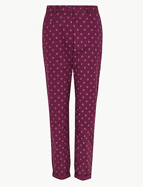 Pure Cotton Floral Print Tapered Leg Chinos