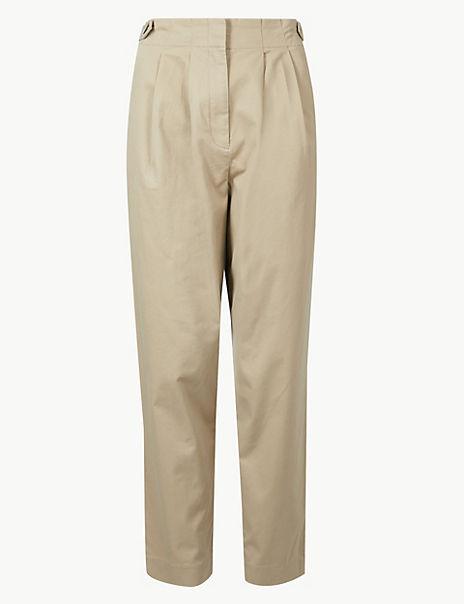 Cotton Rich Ankle Grazer Peg Trousers