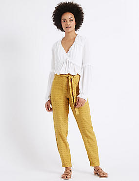 Pure Linen Printed Tapered Leg Trousers