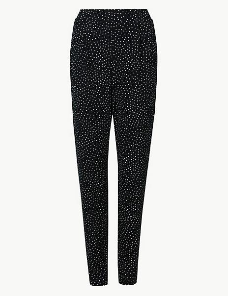 Polka Dot Jersey Peg Trousers