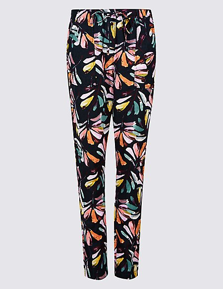 Linen Rich Floral Print Tapered Leg Trousers