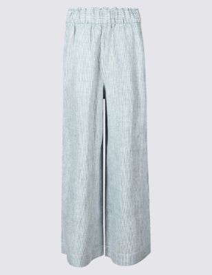 Pure Linen Wide Leg Cropped Flared Trousers by Marks & Spencer