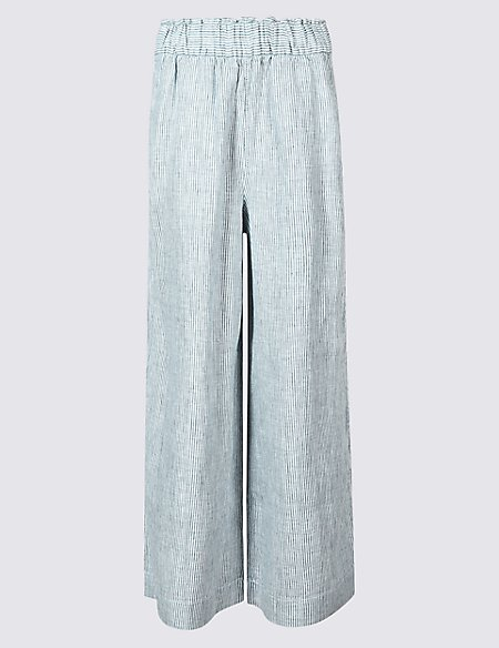 Pure Linen Wide Leg Cropped Flared Trousers