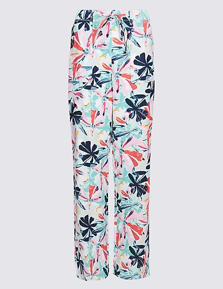 Linen Rich Printed Wide Leg Trousers