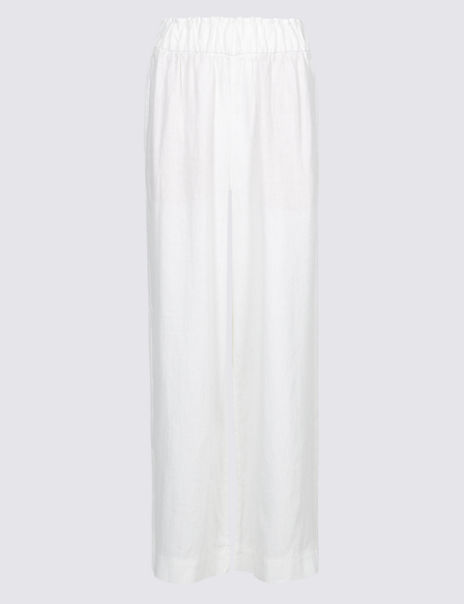 Pure Linen Cropped Wide Leg Trousers