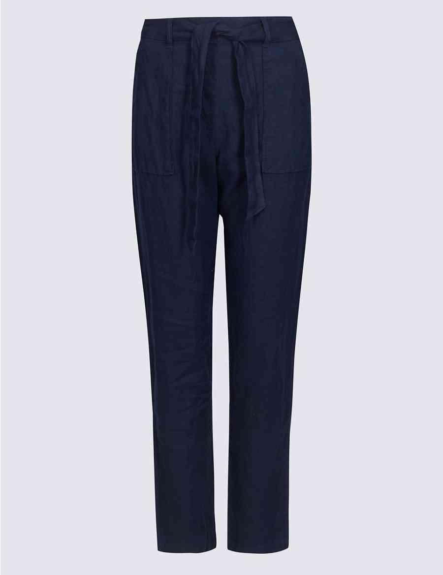 fa47a235630 Pure Linen Peg Trousers
