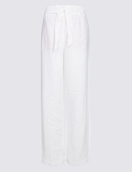 Pure Linen Wide Leg Trousers