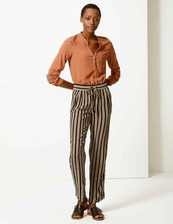 bb72fa792f31eb Striped Ankle Grazer Peg Trousers