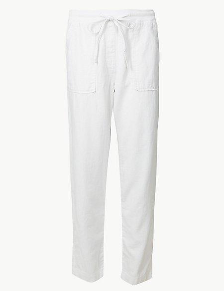 Linen Rich Jersey Peg Trousers