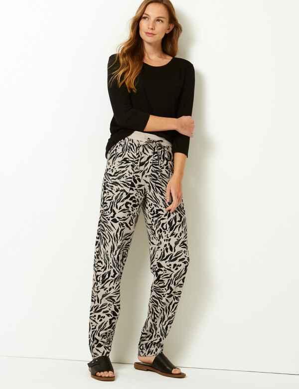 954c901de04708 Linen Rich Animal Print Peg Trousers