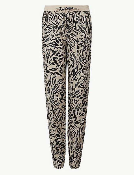 Linen Rich Animal Print Peg Trousers