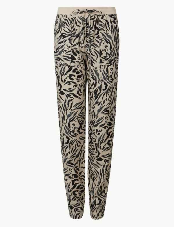 c638c5df46 Linen Rich Animal Print Peg Trousers