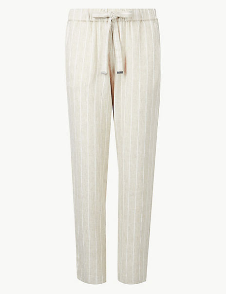 Linen Rich Striped Tapered Leg Peg Trousers