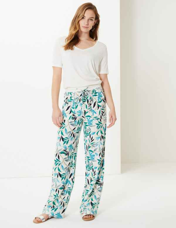 Leaf Print Wide Leg Ankle Grazer Trousers 39a79061c1