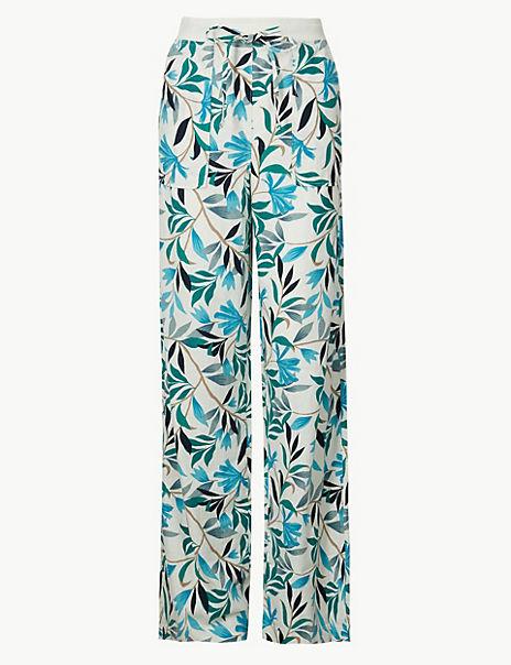 Linen Rich Leaf Print Wide Leg Trousers