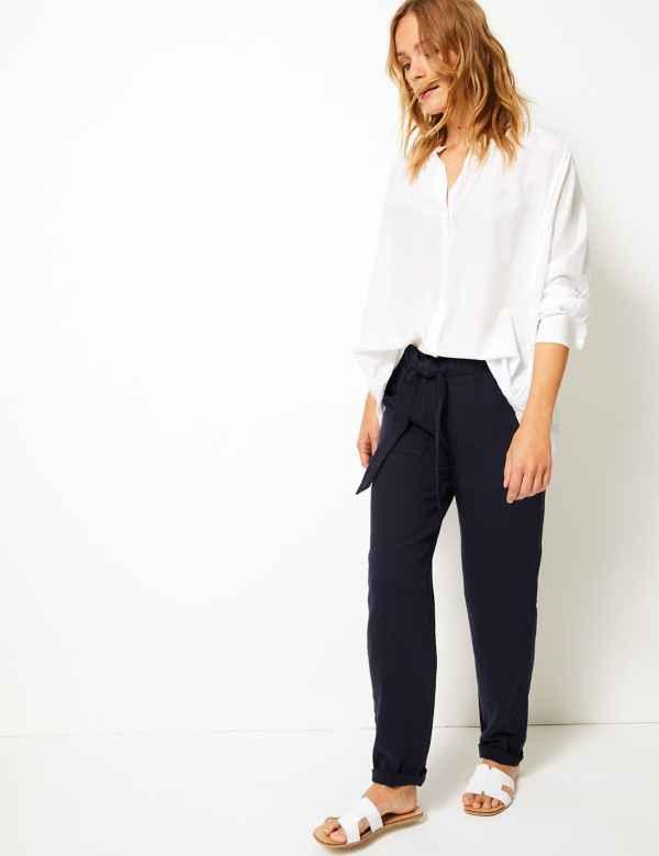 418c9e4e22e Pure Cotton Straight Leg Trousers