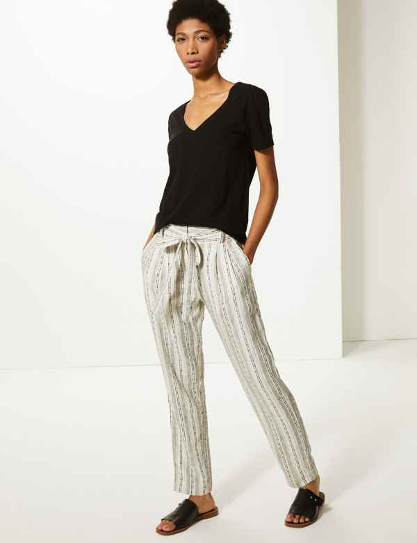 f008dbeae6ee Linen Blend Striped Straight Leg Trousers